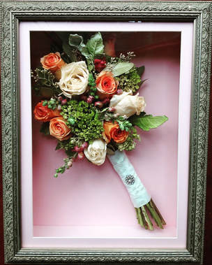 Preserved wedding bridal bouquet in shadow box
