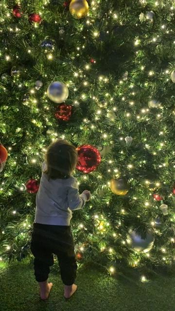 family holiday traditions toddler standing by christmas tree