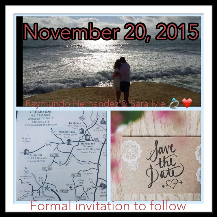 Newly engaged couple cuddling overlooking Pacific ocean, map, and save the date for wedding