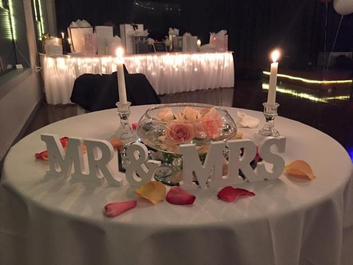 Wedding Planning Mr&Mrs sign on table with roses, candles, and lights