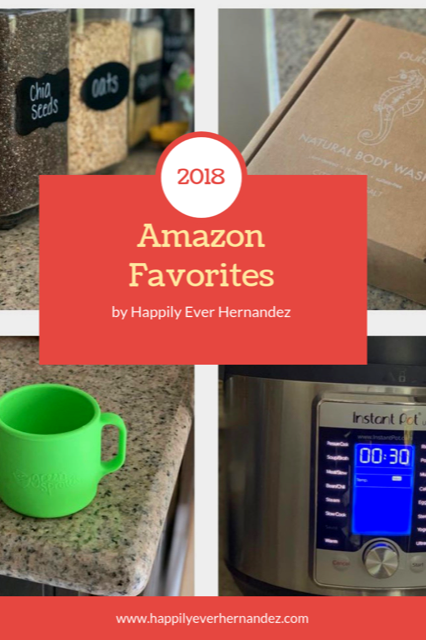 Amazon Favorites Gift Guide 2018 with instant pot, puracy body products, learning cup, and chalkboard stickers