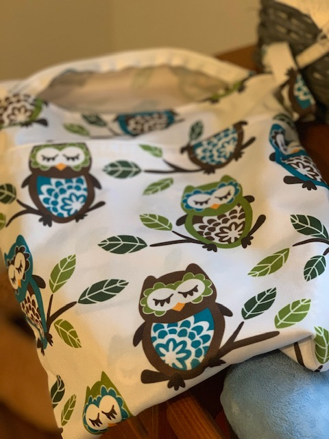 cloth diaper wet bag with owls on it