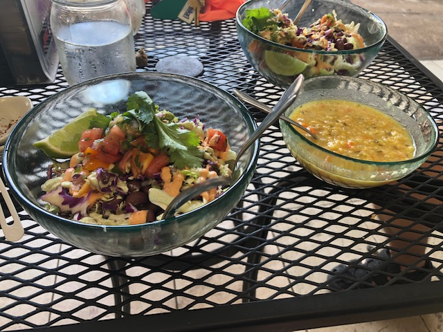 top ten vegan eateries choice health bar lentil soup and Mexican salad