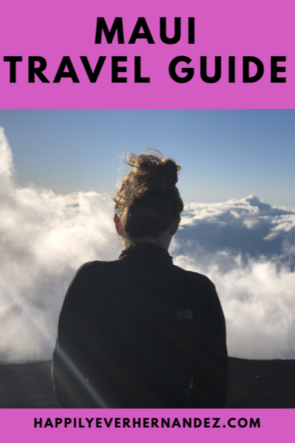 Maui Travel Guide Woman standing above the clouds at Haleakala crater
