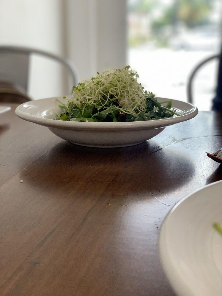 vegan salad at Miami Beach restaurant